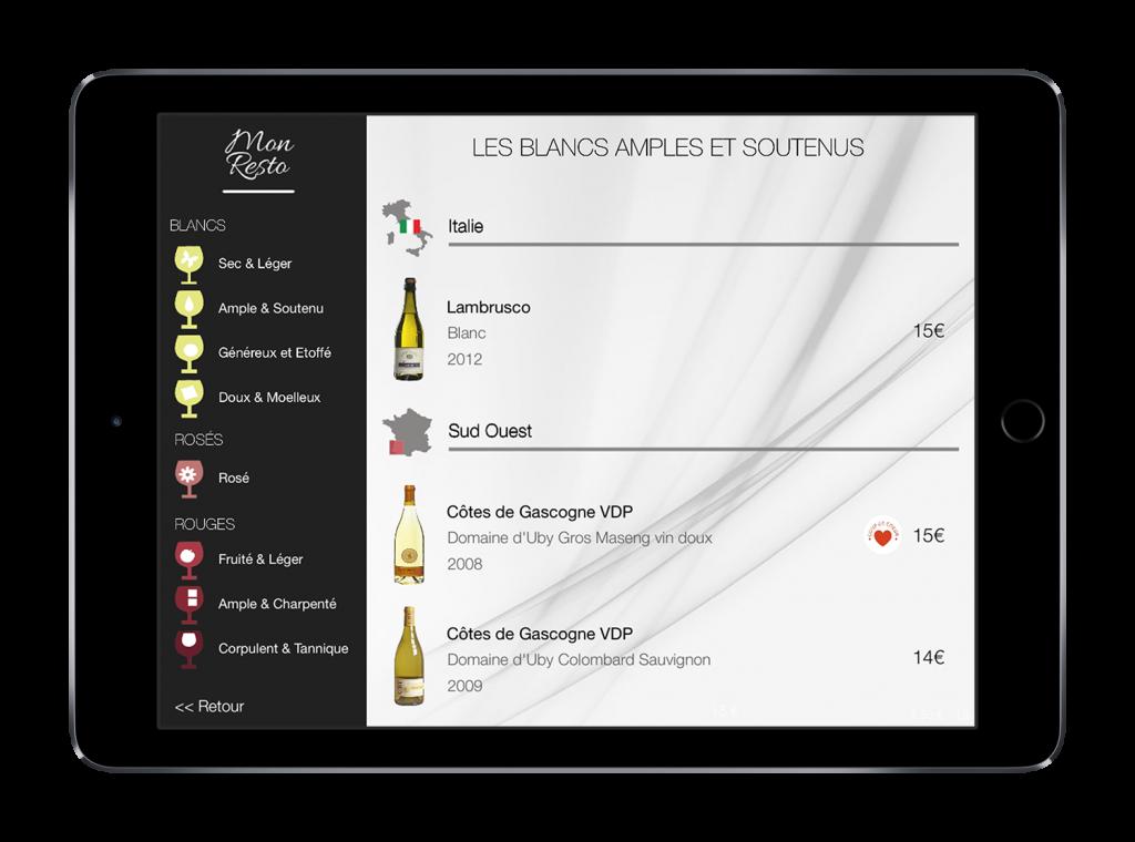 Oenorium carte des vins tablette