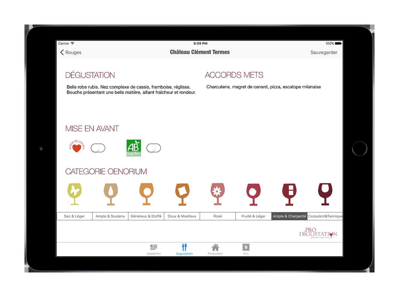 Oenorium administration carte des vins tablette