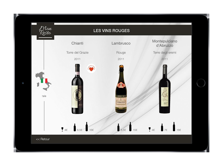 Navigation des vins dans la tablette