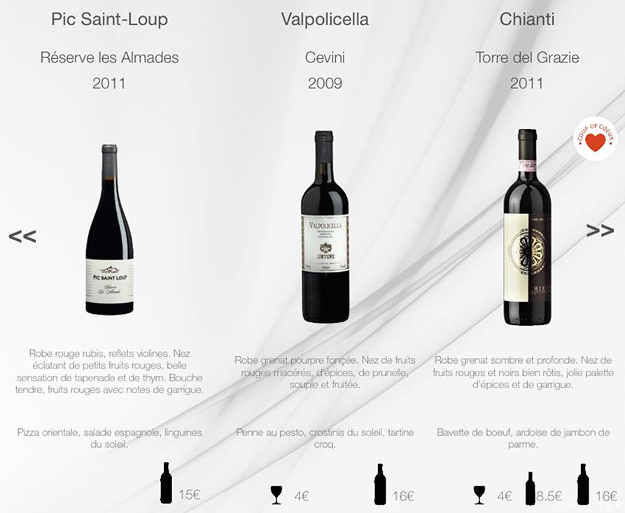 Affichage du prix bouteille, demi-bouteille ou verre