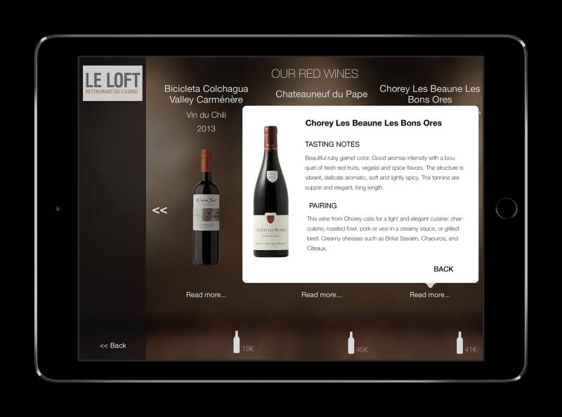 Carte des vins tablette anglais