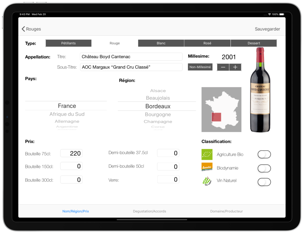 Carte vins tablette gestion administration vins