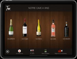 Carte des vins sur tablette choix des catégories verre magnum jeroboam