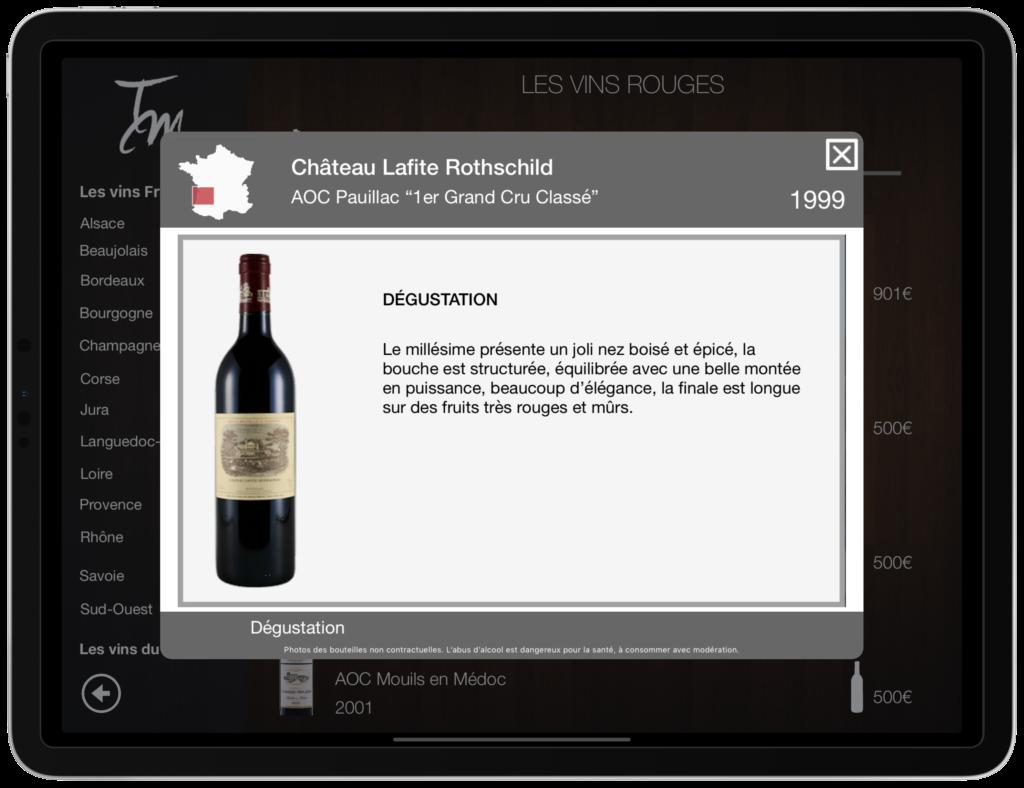 Carte des vins sur tablette Fiche dégustation