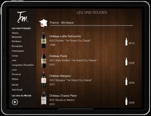 Carte des vins sur tablette classement par région