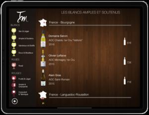 Carte des vins sur tablette Oenorium