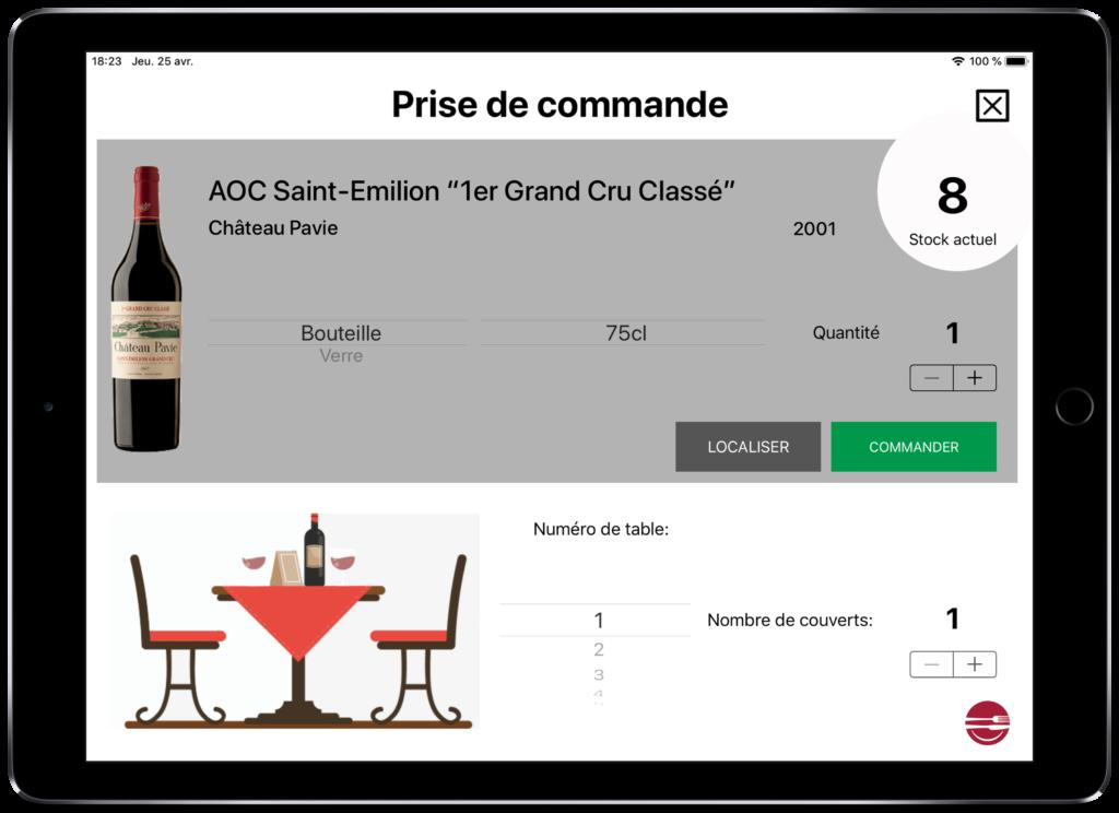 Carte vins tablette prise de commande